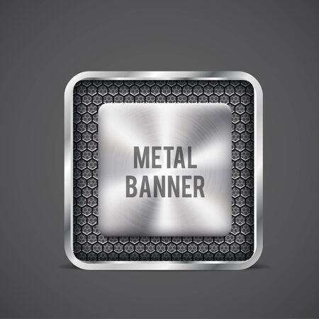cromo: Illustartion de metal bandera rejilla negro eps 10