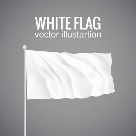 white flag: Illustartion of Blank white flag. 3d isolated eps 10