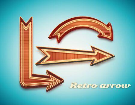 flecha: Ilustración de la muestra de la vendimia retro EPS 10 de neón Vectores