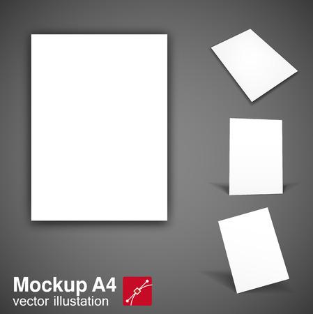 a4: Illustartion of  white brochure mockup a4 eps 10 Illustration