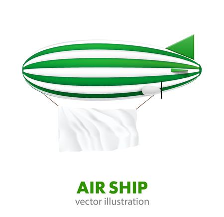 blimp: Illustartion of  air ship isolated on white