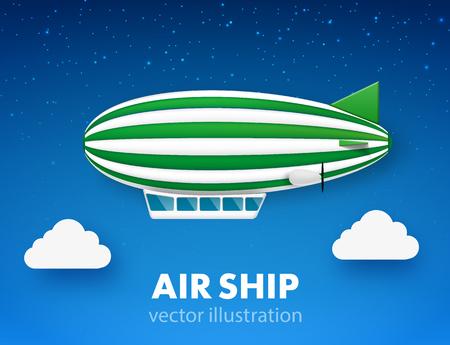 isolated illustartion: Illustartion of  air ship isolated on white