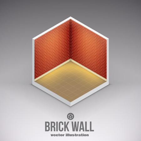 isolated illustartion: Illustartion of isometric brick wall eps 10 isolated on white