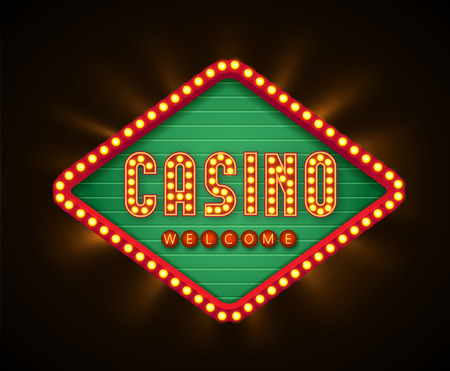 Illustartion of retro casino glowing lamp banner
