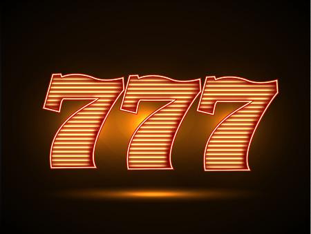 casino machine: Illustartion of Triple seven 777 glowing font