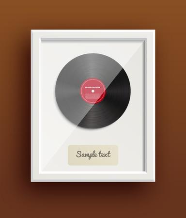 antique art: Illustartion of vinyl disk retro design music award