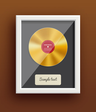 Illustartion of vinyl disk retro design music award