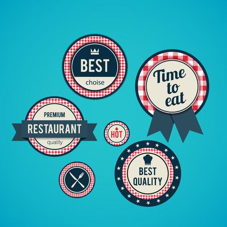 fine dining: Illustartion of Set of vintage retro restaurant badges