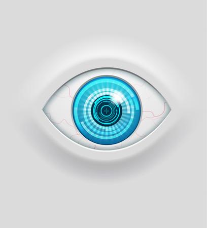 Ilustración de los iconos futuristas ojo cibernético objeto realista