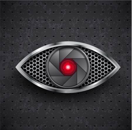 closeup: Illustartion of icon red metall eye black grille Illustration