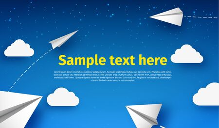 cute background: Illustartion of white paper plane 3d realistic object