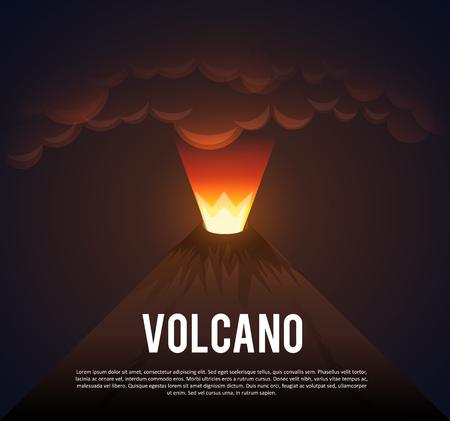 vulcanology: Illustartion of Volcano erupting with place for text