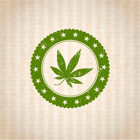 isolated illustartion: Illustartion of medical weed badge isolated in cartoon backgraund