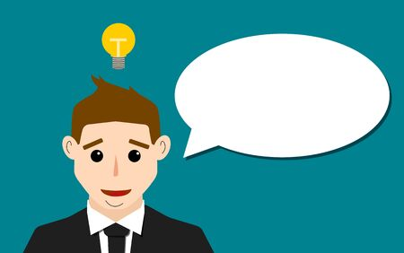 young business man: Illustartion of Businessman icon with dialog speech bubble.
