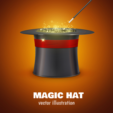 Illustartion of vector MAGIC HAT with red ribbon Çizim