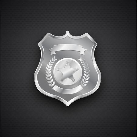 federal police: Illustartion of  Vector metal Police Badge eps 10 Illustration