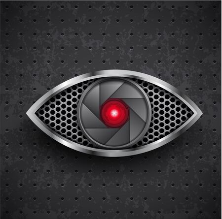 grille: Illustartion of icon red metall eye black grille Illustration