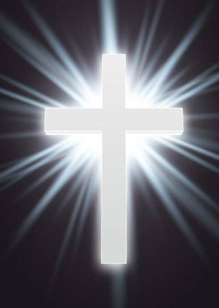 cross light: Illustartion of religion glowing white symbol eps 10
