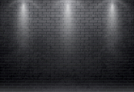 Illustartion of brick wall black background Vettoriali