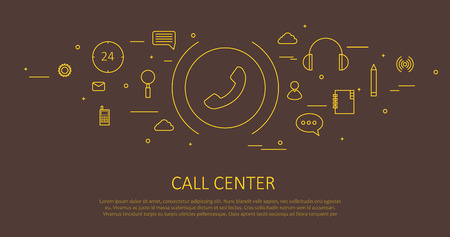 toll free: Illustartion of CALL CENTER FLAT THIN DESIGN