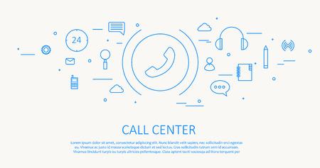 centre: Illustartion of CALL CENTER FLAT THIN DESIGN