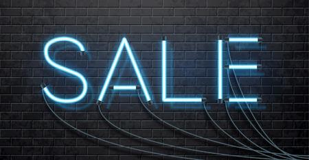 isolated illustartion: Illustartion of neon sale isolated on black brick wall
