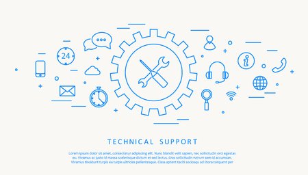 call center agent: Illustartion of technical support thine line design Illustration