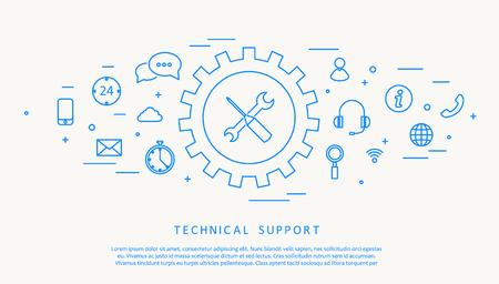 illustartion: Illustartion of technical support thine line design Illustration