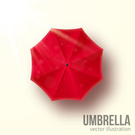 Illustartion of red umbrella vector illustration top view Vettoriali