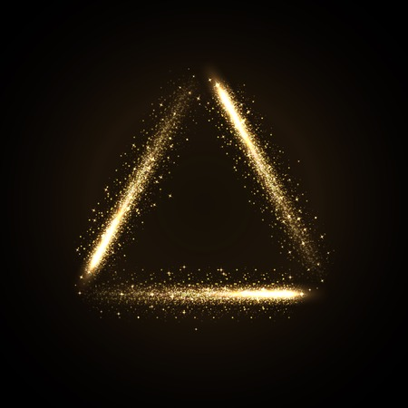 golden light: illustration of glowing triangle from glittering stras