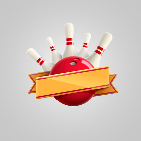 Illustration of bowling with ribbon realistic theme eps 10