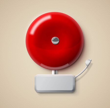 Illustration of red alarm bell 3d realistic