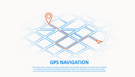 Illustration of gps navigation thin line design