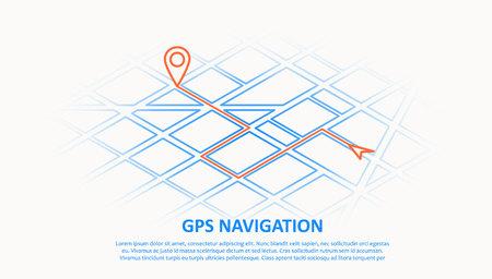Illustration of gps navigation thin line design
