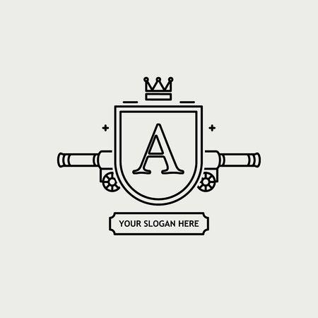 rampant: Illustration of Heraldic sign black line design