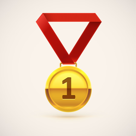isolated object: Illustration of medal realistic object isolated on white