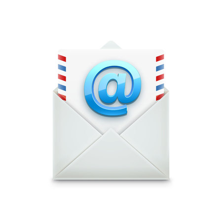 isolated object: Illustration of email concept realistic object isolated on white Illustration