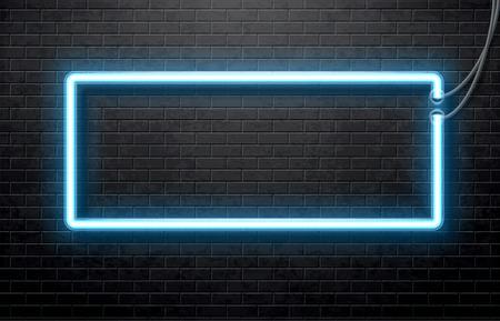 Ilustración de neón azul bandera aislado en la pared de ladrillo negro