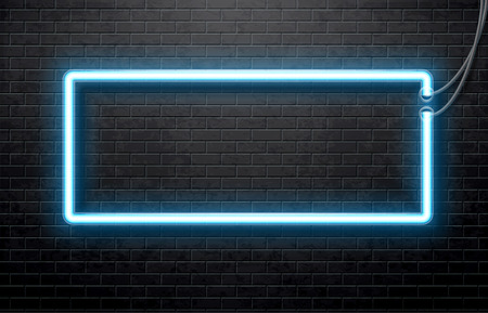 Illustration of neon blue banner isolated on black brick wall