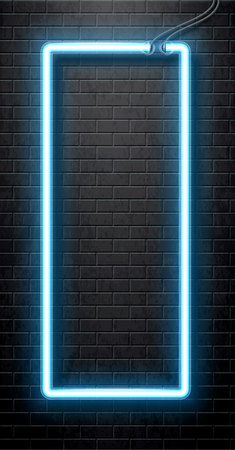 black banner: Illustration of neon blue banner isolated on black brick wall