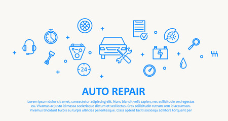 of computer graphics: Illustration of AUTO REPAIR THIN LINE DESIGN CONCEPT