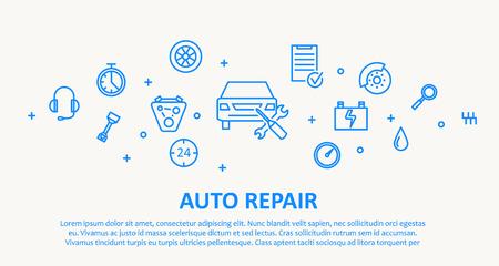 icono computadora: Ilustraci�n de AUTO REPARACIONES DELGADA L�NEA CONCEPTO DE DISE�O