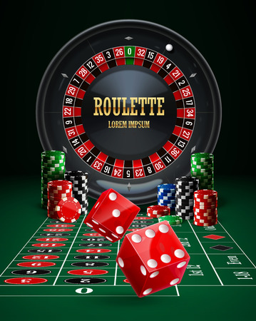 american roulette: Illustartion of roulette casino chips red dice realistic objects