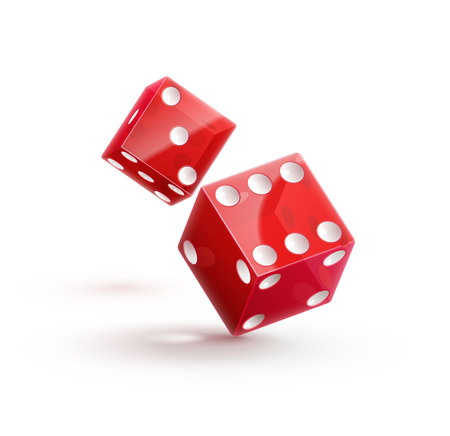 red dice: Illustartion of casino rulette red dice cube isolated on white