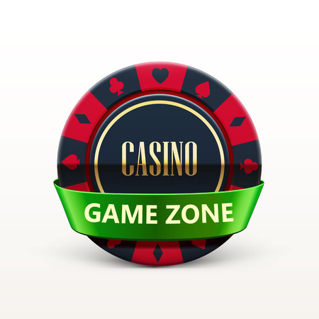 wining: vector illustration of casino chip with ribbon and place for text isolated on white Illustration