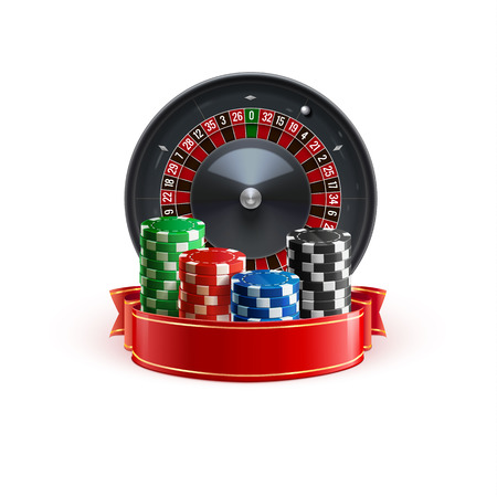 roulette isolated on white realistic casino object with red ribbon and casino chips Illustration