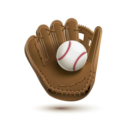 baseball glove with ball isolated on white realistic objects eps 10