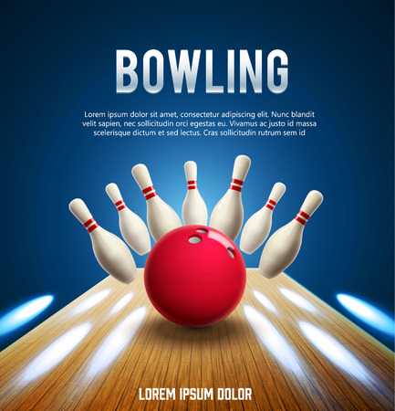 illustration of bowling realistic theme
