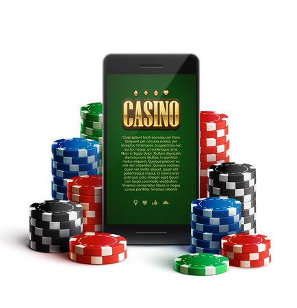 isolated illustartion: illustartion of casino chips and mobile isolated on white Illustration