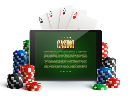 illustartion of casino chips and mobile isolated on white Illustration